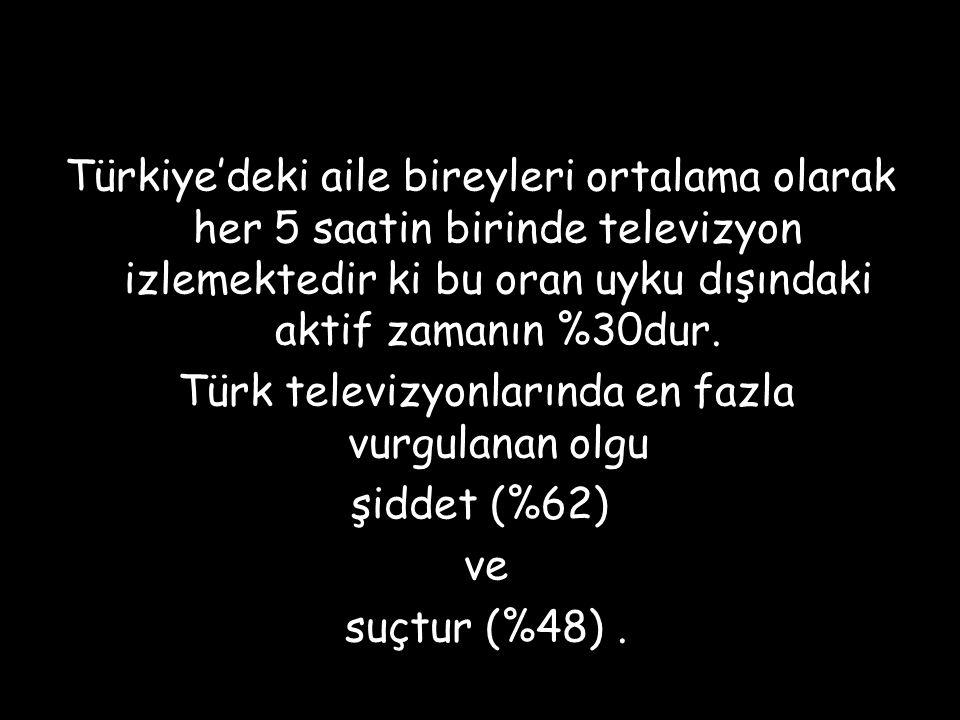 Türkiye'deki aile bireyleri ortalama olarak her 5 saatin birinde televizyon izlemektedir ki bu oran uyku dışındaki aktif zamanın %30dur.