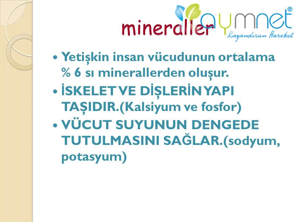 mineraller Yetişkin insan vücudunun ortalama % 6 sı minerallerden oluşur. İSKELET VE DİŞLERİN YAPI TAŞIDIR.(Kalsiyum ve fosfor)