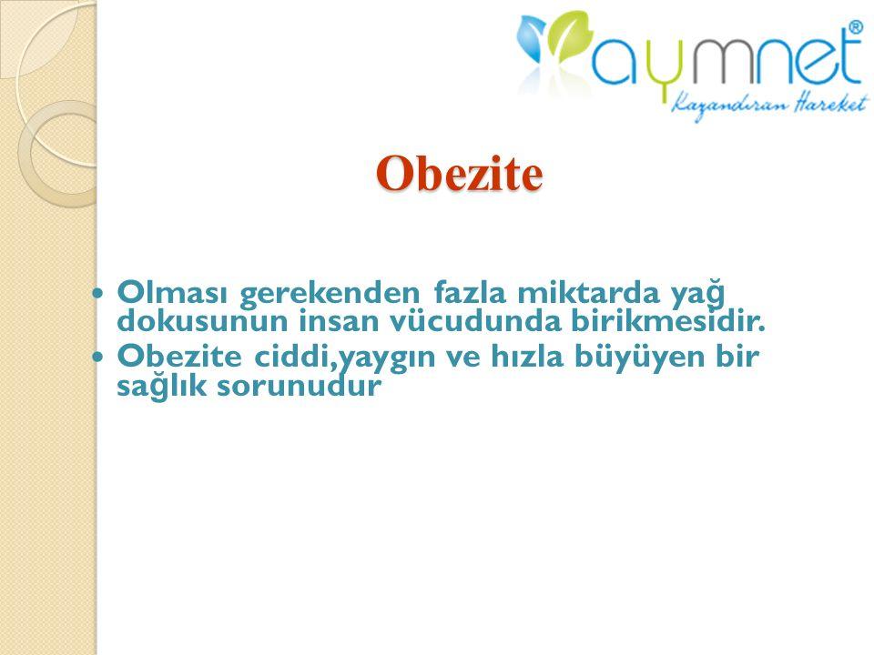 Obezite Olması gerekenden fazla miktarda yağ dokusunun insan vücudunda birikmesidir.