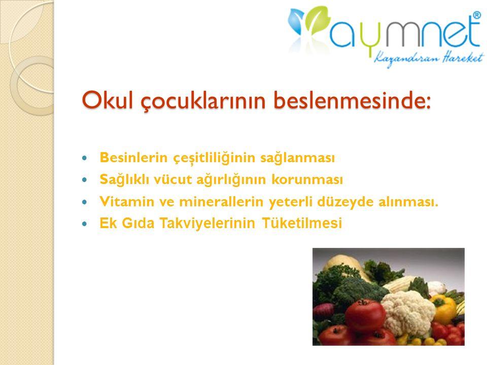 Okul çocuklarının beslenmesinde: