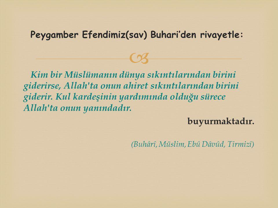 Peygamber Efendimiz(sav) Buhari'den rivayetle: