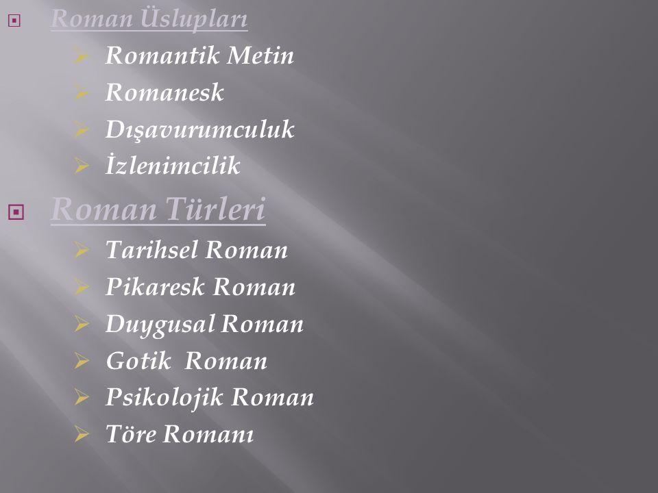 Roman Türleri Roman Üslupları Romantik Metin Romanesk Dışavurumculuk