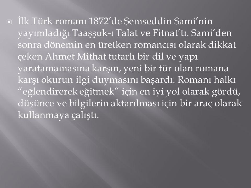 İlk Türk romanı 1872'de Şemseddin Sami'nin yayımladığı Taaşşuk-ı Talat ve Fitnat'tı.