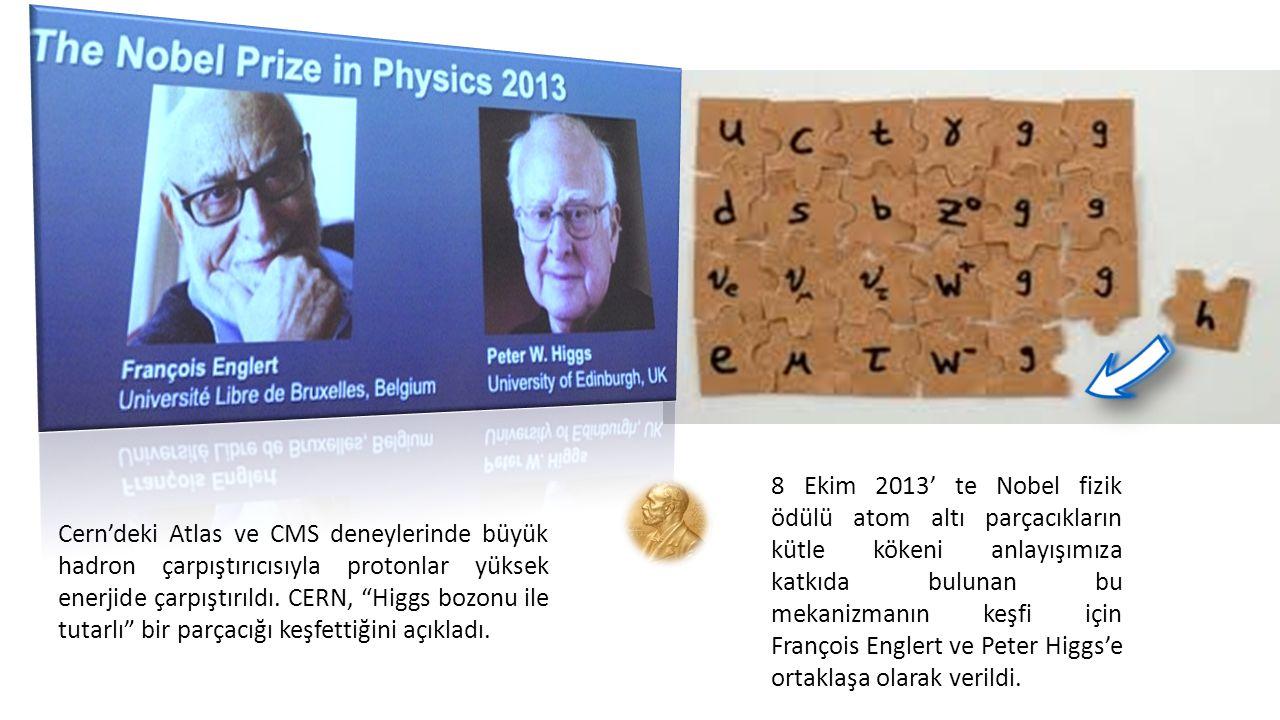 8 Ekim 2013' te Nobel fizik ödülü atom altı parçacıkların kütle kökeni anlayışımıza katkıda bulunan bu mekanizmanın keşfi için François Englert ve Peter Higgs'e ortaklaşa olarak verildi.