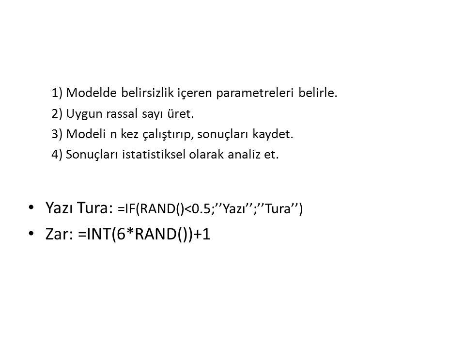 Yazı Tura: =IF(RAND()<0.5;''Yazı'';''Tura'') Zar: =INT(6*RAND())+1