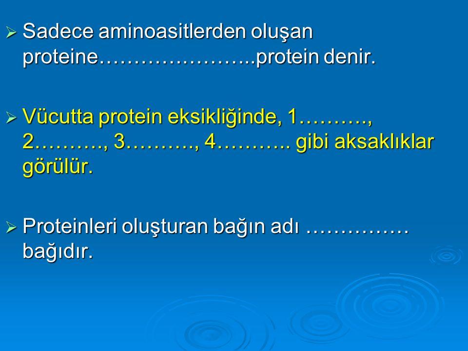 Sadece aminoasitlerden oluşan proteine…………………..protein denir.