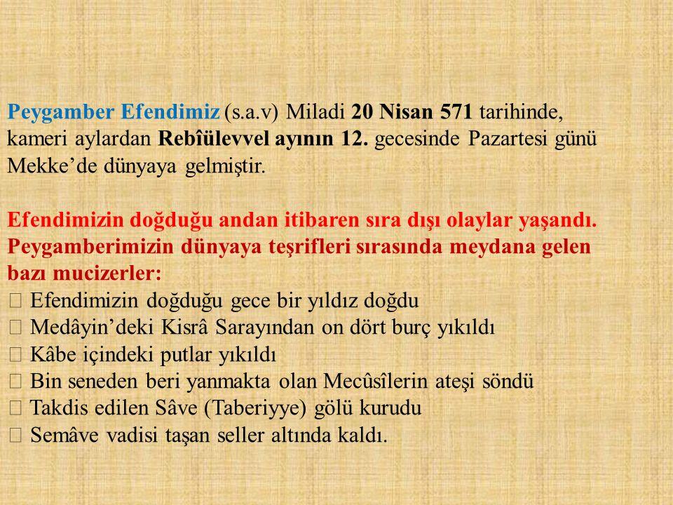 Peygamber Efendimiz (s.a.v) Miladi 20 Nisan 571 tarihinde,