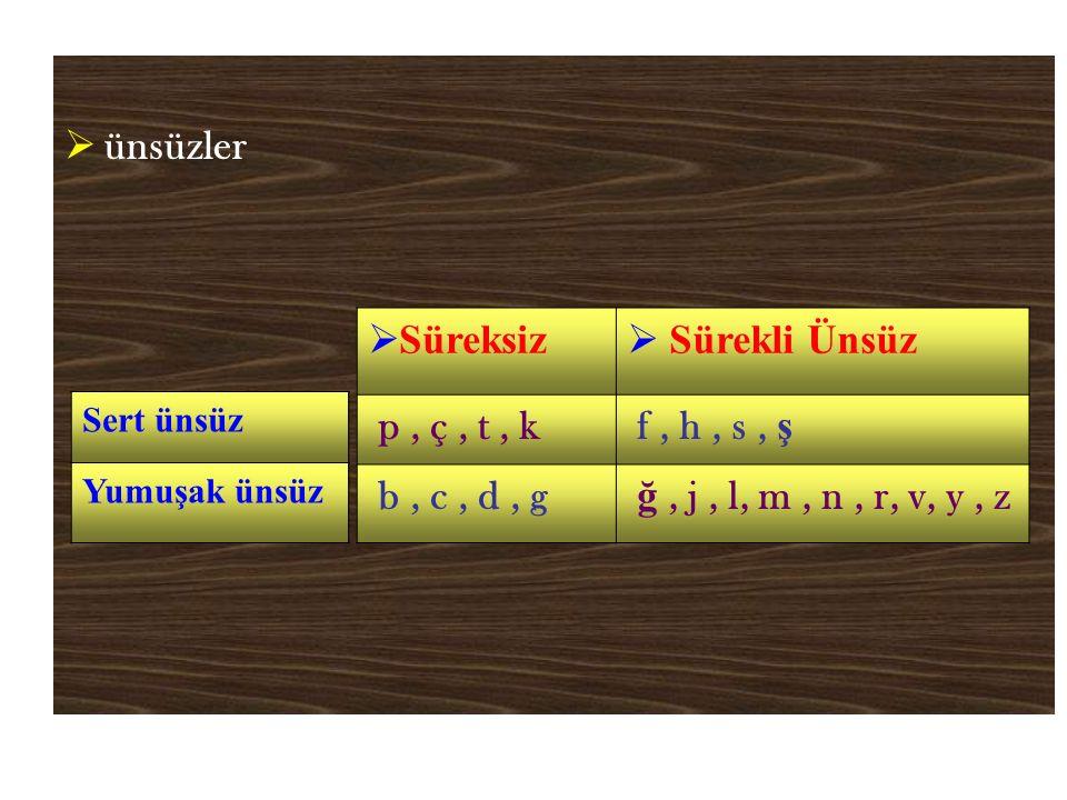 ünsüzler Süreksiz Sürekli Ünsüz p , ç , t , k f , h , s , ş