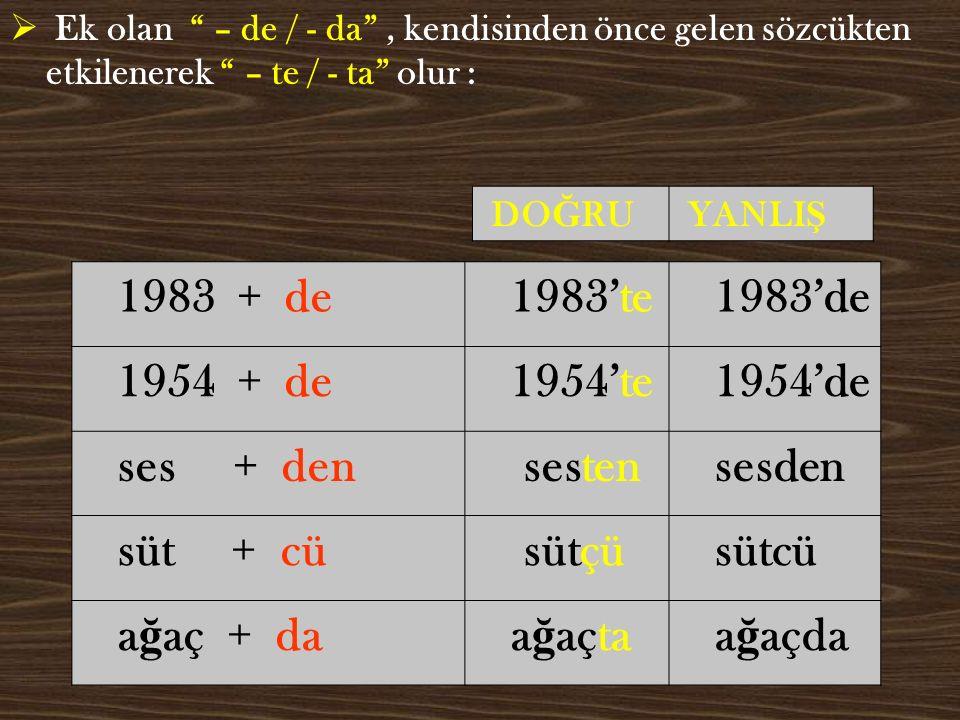 1983 + de 1983'te 1983'de 1954 + de 1954'te 1954'de ses + den sesten