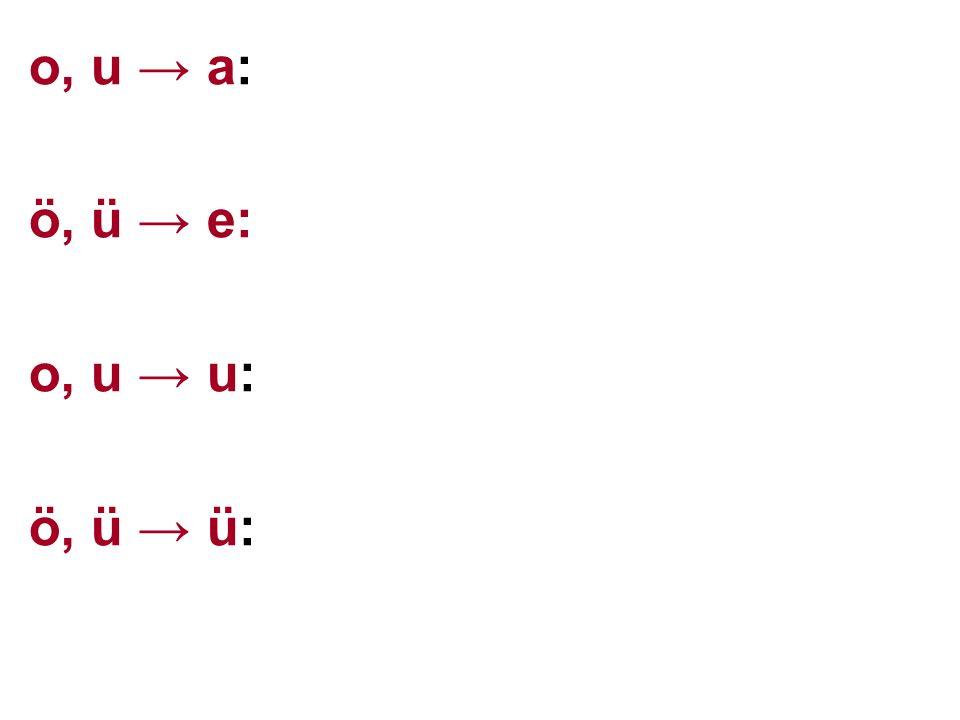 o, u → a: ö, ü → e: o, u → u: ö, ü → ü: