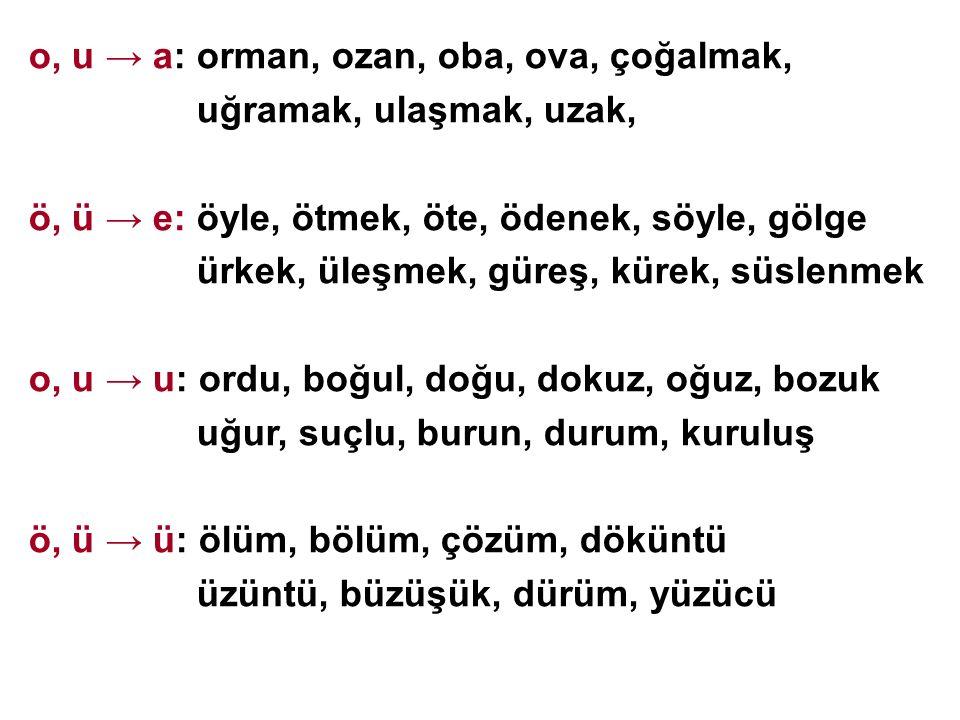 o, u → a: orman, ozan, oba, ova, çoğalmak,