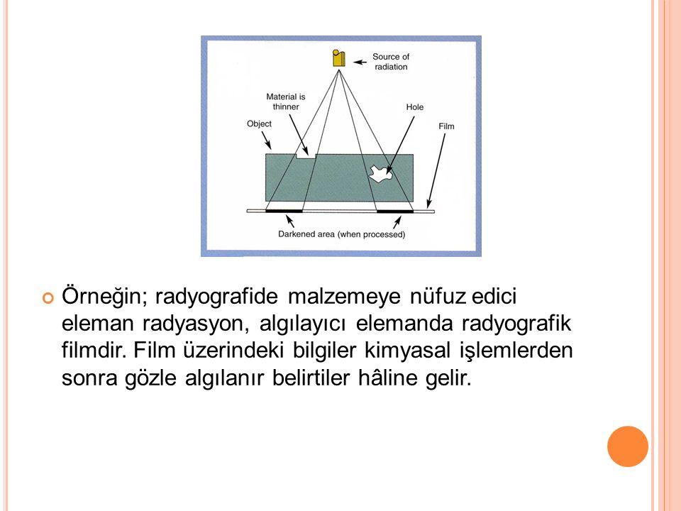Örneğin; radyografide malzemeye nüfuz edici eleman radyasyon, algılayıcı elemanda radyografik filmdir.