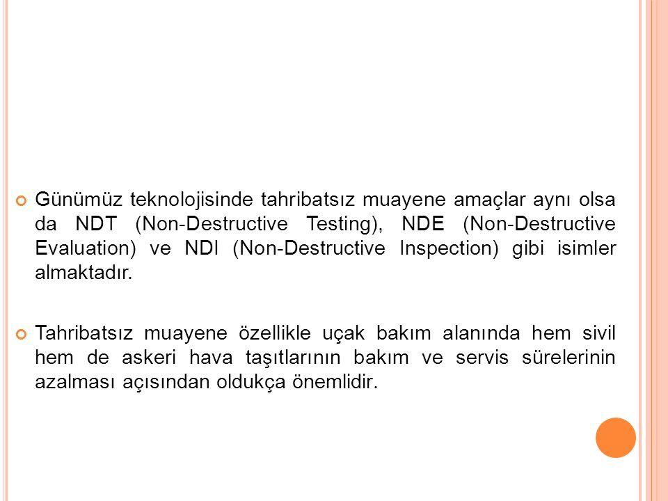 Günümüz teknolojisinde tahribatsız muayene amaçlar aynı olsa da NDT (Non-Destructive Testing), NDE (Non-Destructive Evaluation) ve NDI (Non-Destructive Inspection) gibi isimler almaktadır.