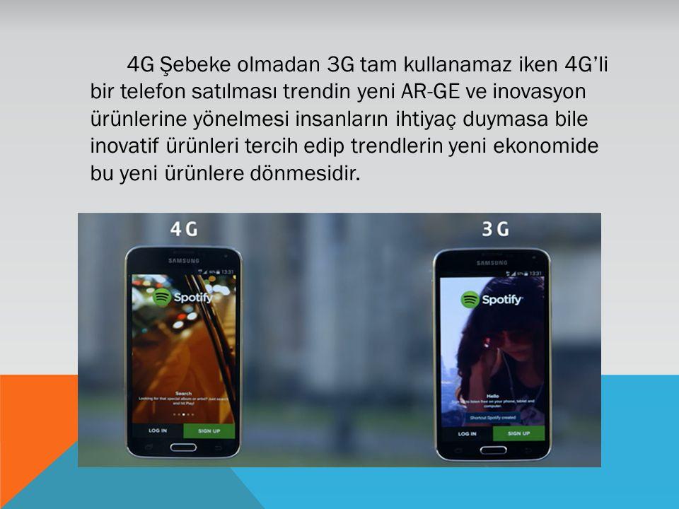4G Şebeke olmadan 3G tam kullanamaz iken 4G'li bir telefon satılması trendin yeni AR-GE ve inovasyon ürünlerine yönelmesi insanların ihtiyaç duymasa bile inovatif ürünleri tercih edip trendlerin yeni ekonomide bu yeni ürünlere dönmesidir.
