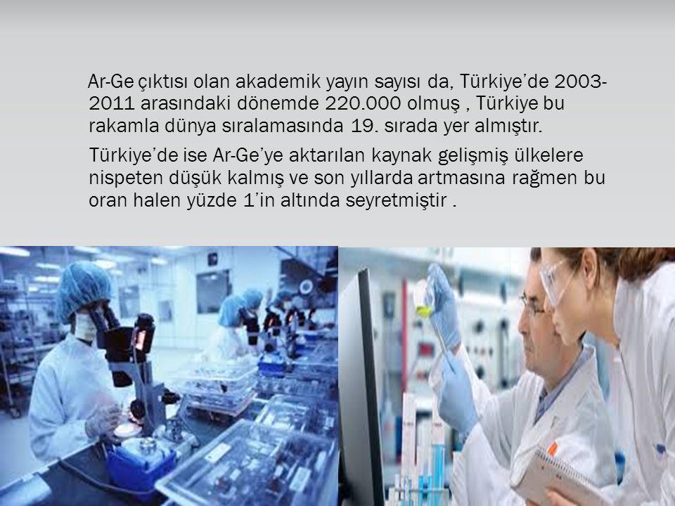 Ar-Ge çıktısı olan akademik yayın sayısı da, Türkiye'de 2003- 2011 arasındaki dönemde 220.000 olmuş , Türkiye bu rakamla dünya sıralamasında 19. sırada yer almıştır.