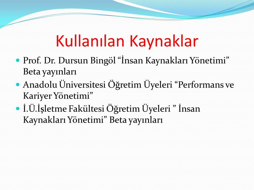 Kullanılan Kaynaklar Prof. Dr. Dursun Bingöl İnsan Kaynakları Yönetimi Beta yayınları.