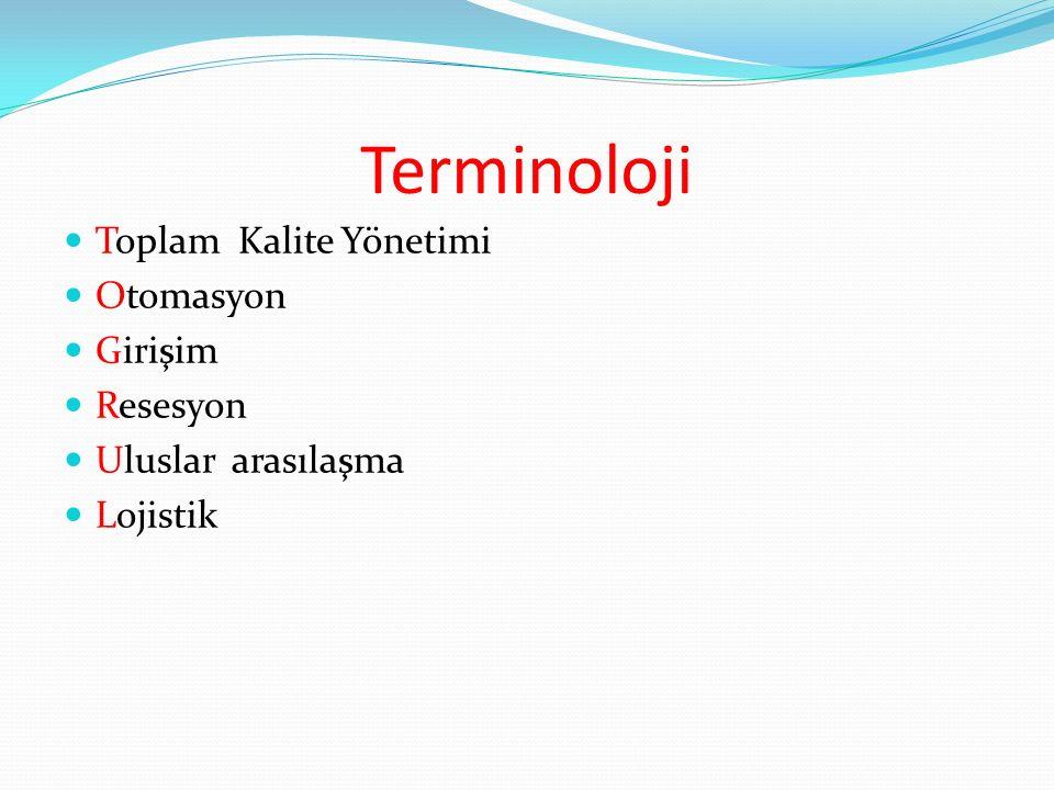 Terminoloji Toplam Kalite Yönetimi Otomasyon Girişim Resesyon