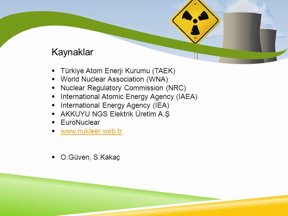 Kaynaklar Türkiye Atom Enerji Kurumu (TAEK)