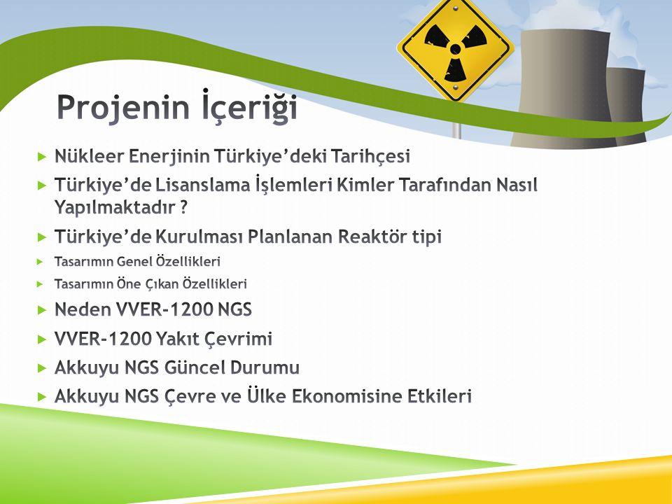 Projenin İçeriği Nükleer Enerjinin Türkiye'deki Tarihçesi