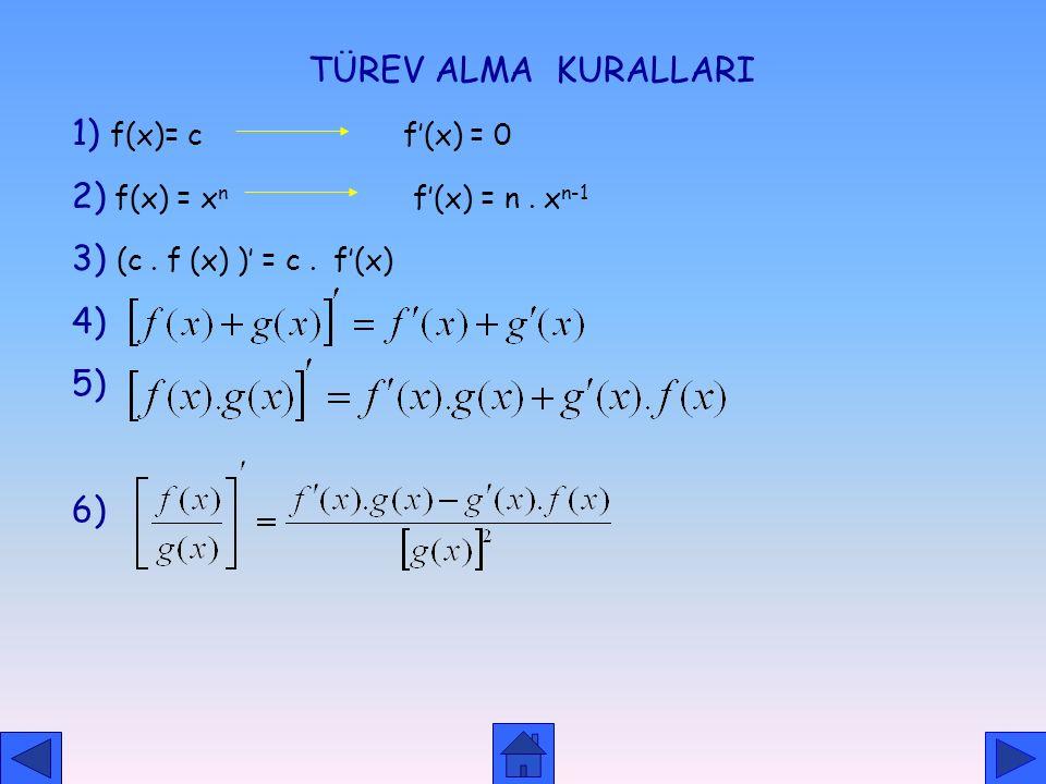 TÜREV ALMA KURALLARI 1) f(x)= c f'(x) = 0. 2) f(x) = xn f'(x) = n . xn-1.