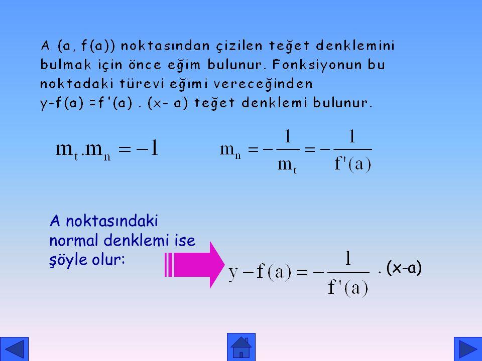 A noktasındaki normal denklemi ise şöyle olur: