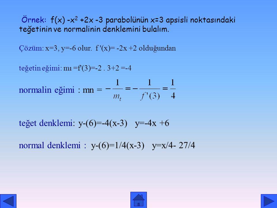 teğet denklemi: y-(6)=-4(x-3) y=-4x +6