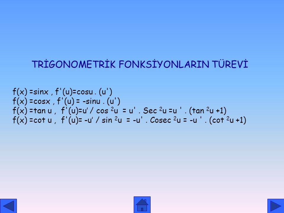 TRİGONOMETRİK FONKSİYONLARIN TÜREVİ