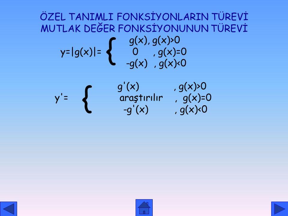 { { ÖZEL TANIMLI FONKSİYONLARIN TÜREVİ
