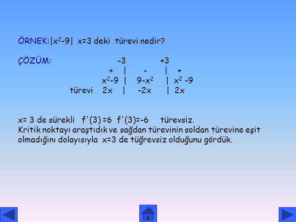 ÖRNEK:|x2-9| x=3 deki türevi nedir