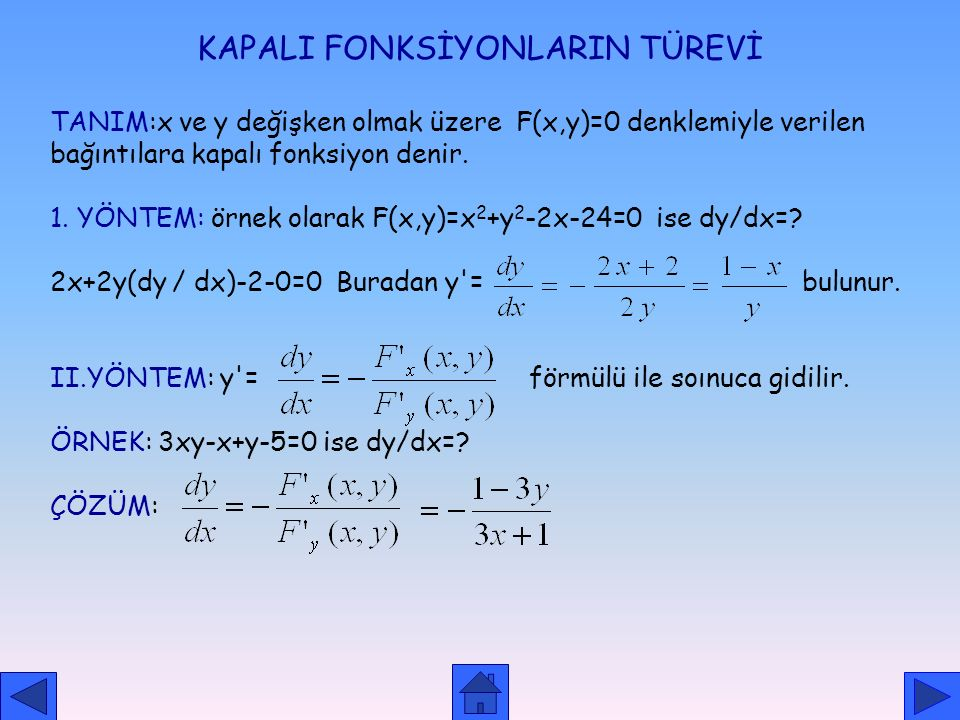 KAPALI FONKSİYONLARIN TÜREVİ