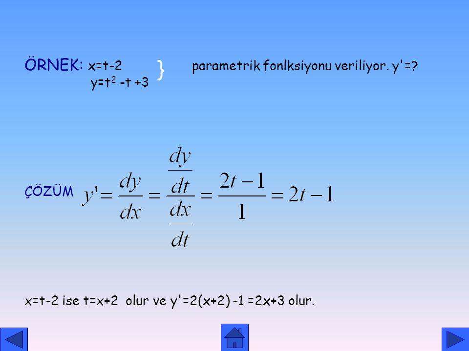 } ÖRNEK: x=t-2 parametrik fonlksiyonu veriliyor. y = y=t2 -t +3 ÇÖZÜM