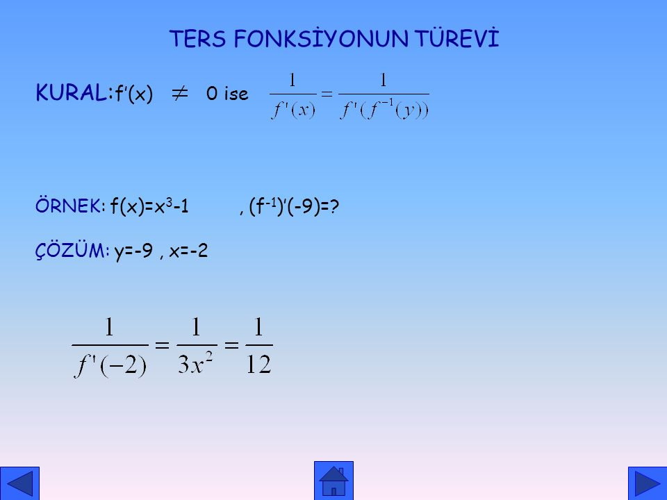 TERS FONKSİYONUN TÜREVİ