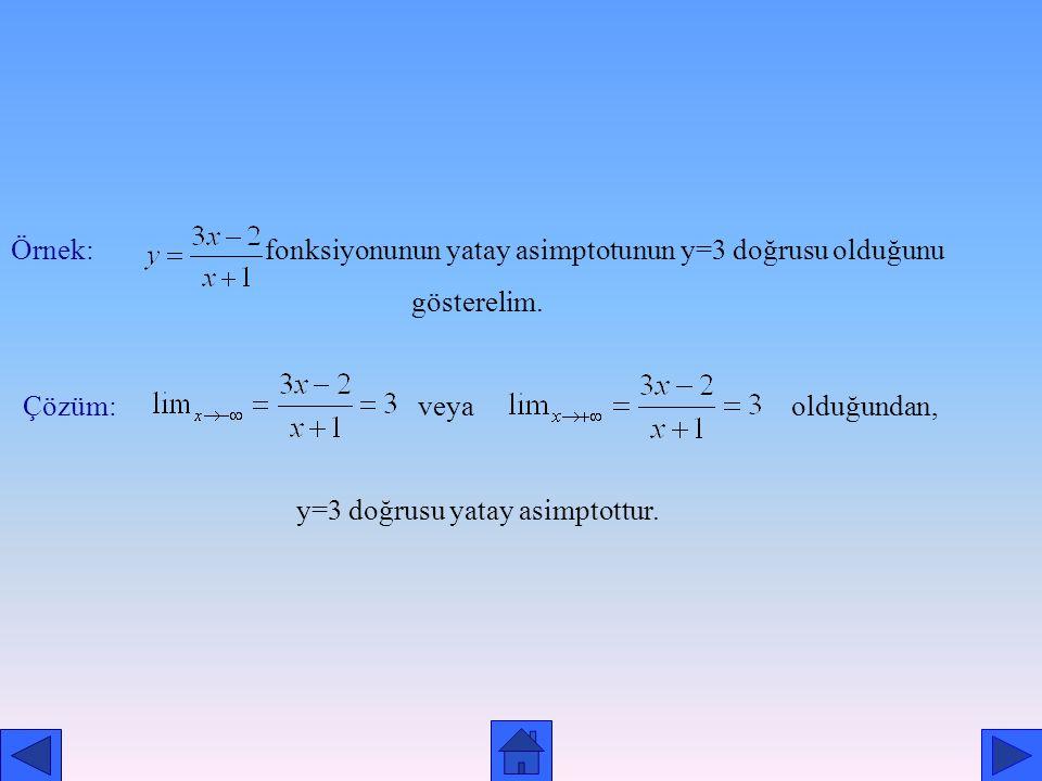 Örnek: fonksiyonunun yatay asimptotunun y=3 doğrusu olduğunu