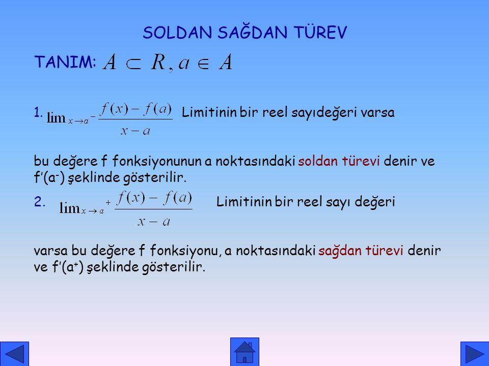 SOLDAN SAĞDAN TÜREV TANIM: 1. Limitinin bir reel sayıdeğeri varsa