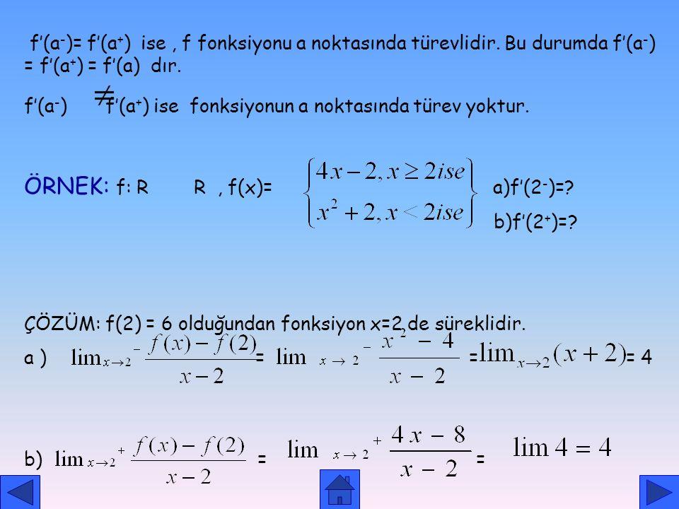 ÖRNEK: f: R R , f(x)= a)f'(2-)=