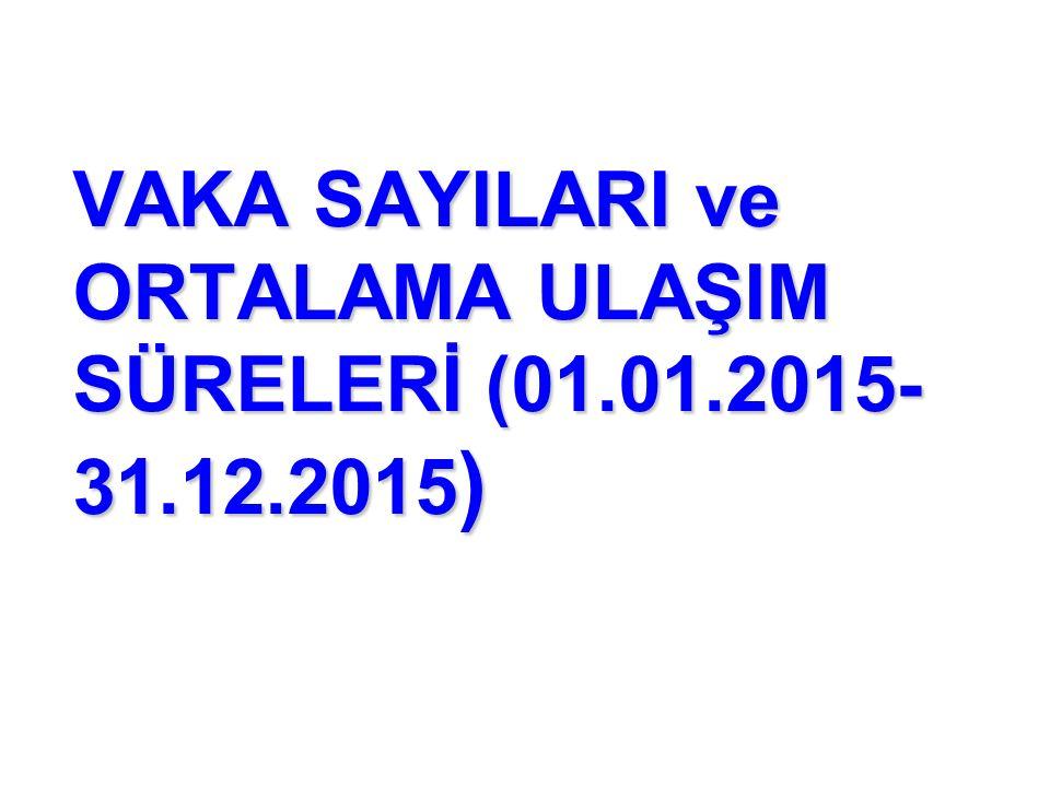 VAKA SAYILARI ve ORTALAMA ULAŞIM SÜRELERİ (01.01.2015-31.12.2015)