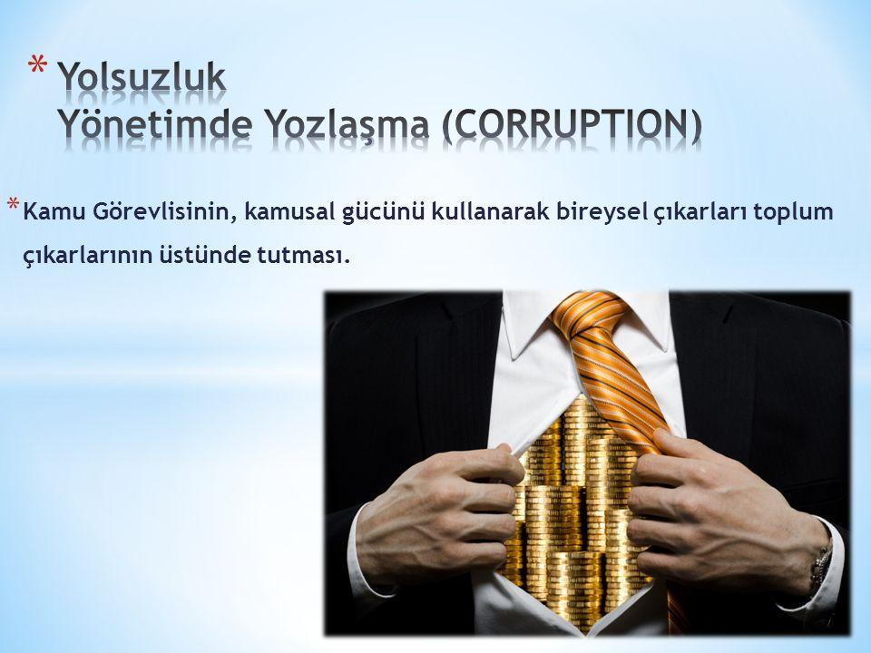 Yolsuzluk Yönetimde Yozlaşma (CORRUPTION)