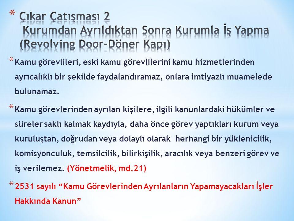 Çıkar Çatışması 2 Kurumdan Ayrıldıktan Sonra Kurumla İş Yapma (Revolving Door-Döner Kapı)