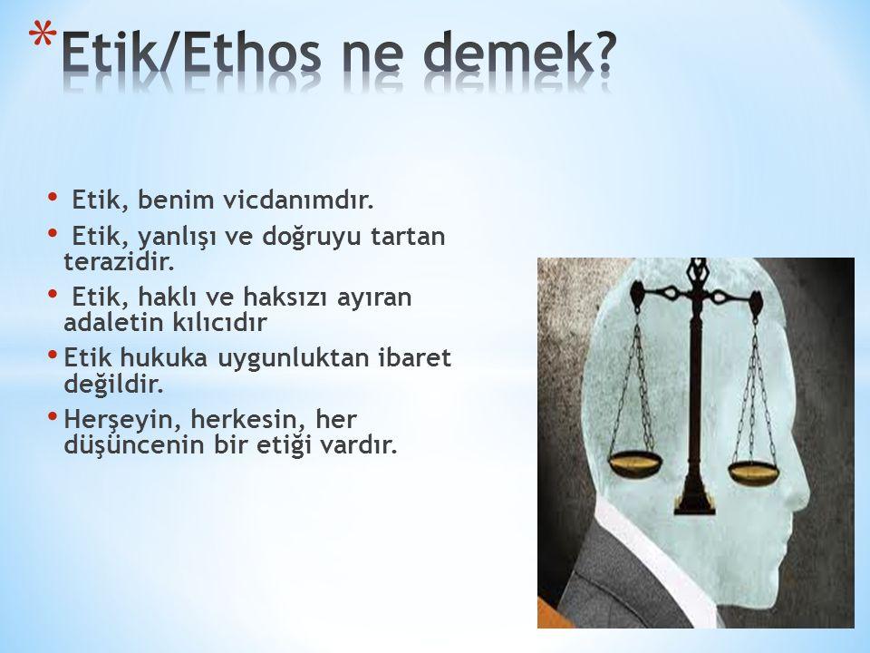 Etik/Ethos ne demek Etik, benim vicdanımdır.