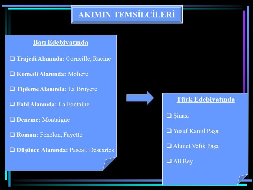 AKIMIN TEMSİLCİLERİ Türk Edebiyatında Batı Edebiyatında
