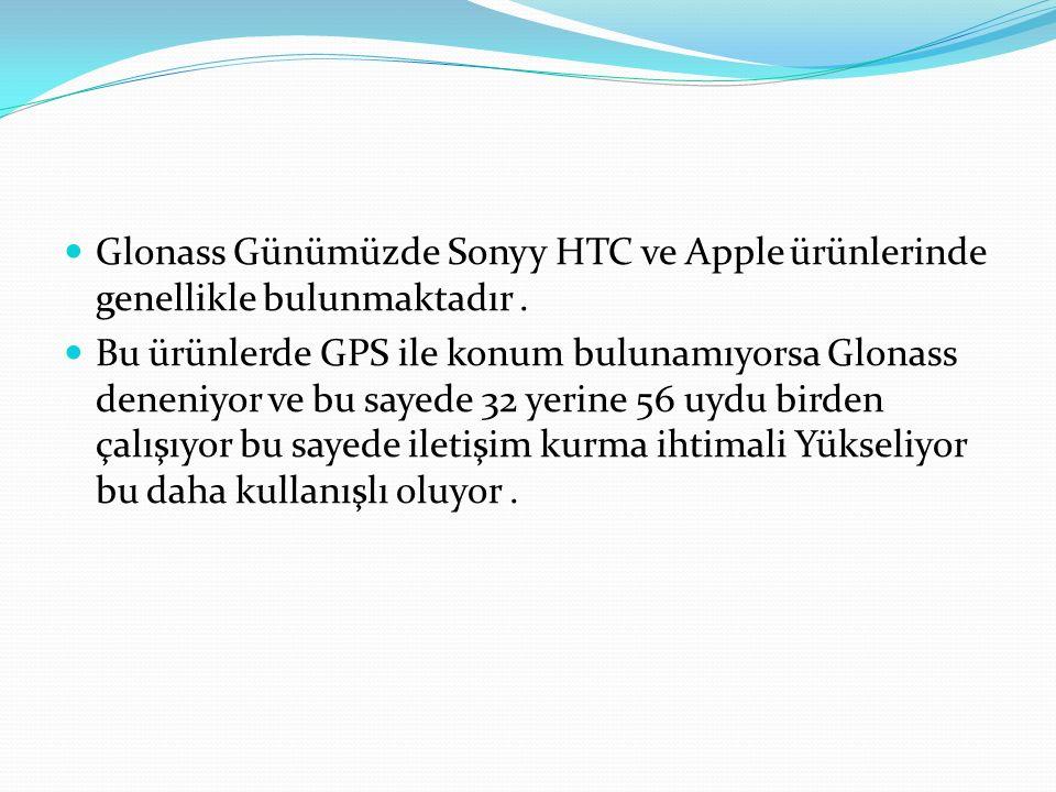 Glonass Günümüzde Sonyy HTC ve Apple ürünlerinde genellikle bulunmaktadır .