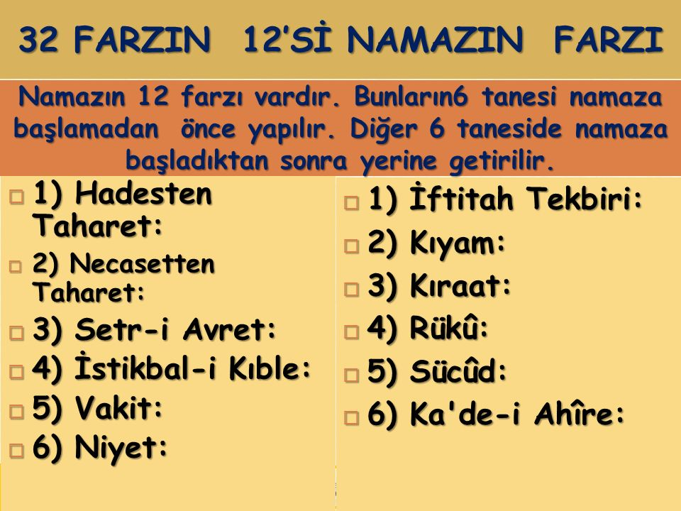 32 FARZIN 12'Sİ NAMAZIN FARZI