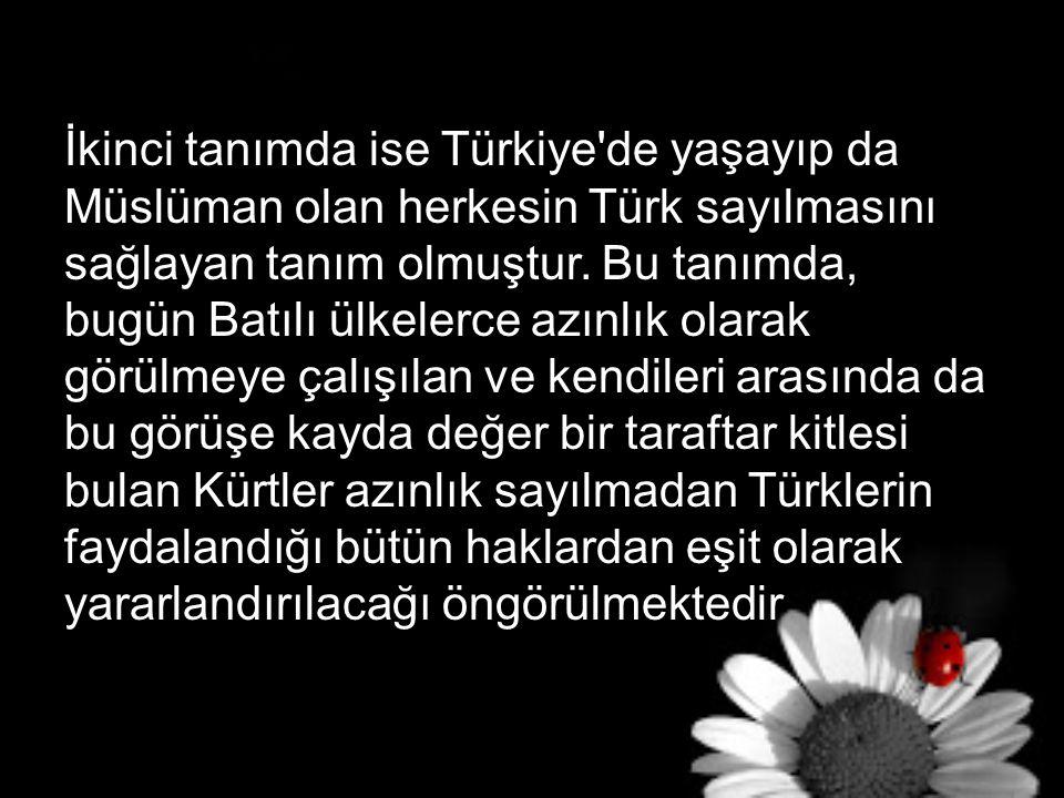 İkinci tanımda ise Türkiye de yaşayıp da Müslüman olan herkesin Türk sayılmasını sağlayan tanım olmuştur.