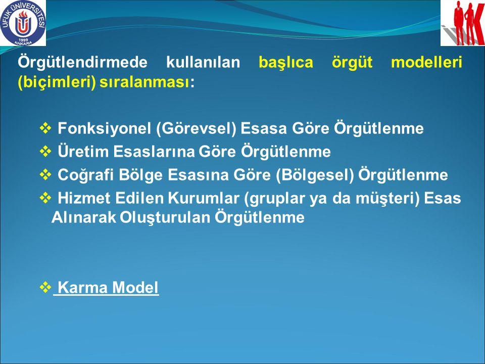 Örgütlendirmede kullanılan başlıca örgüt modelleri (biçimleri) sıralanması: