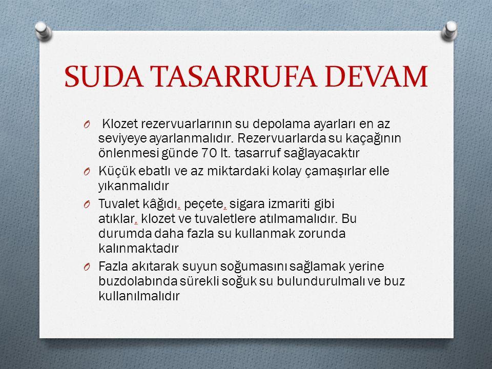 SUDA TASARRUFA DEVAM