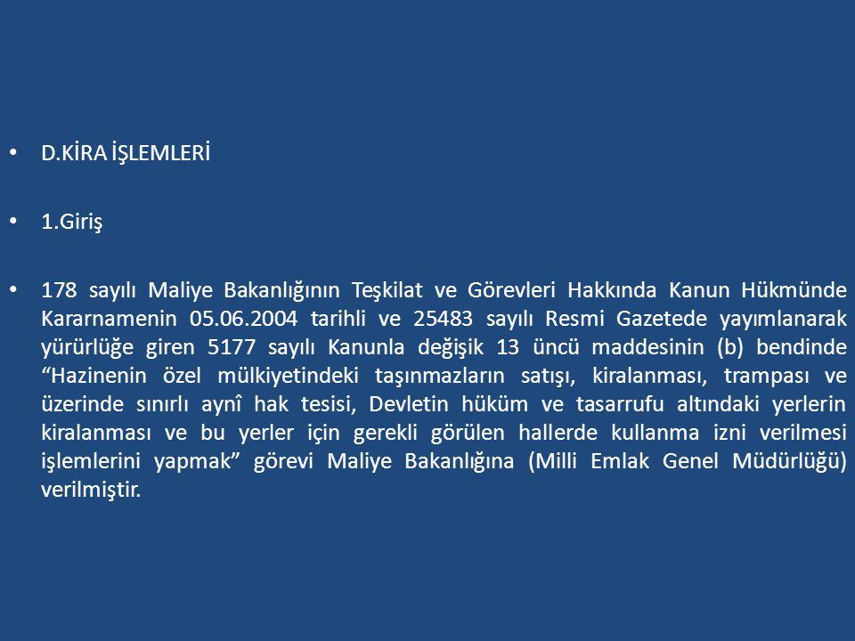D.KİRA İŞLEMLERİ 1.Giriş.