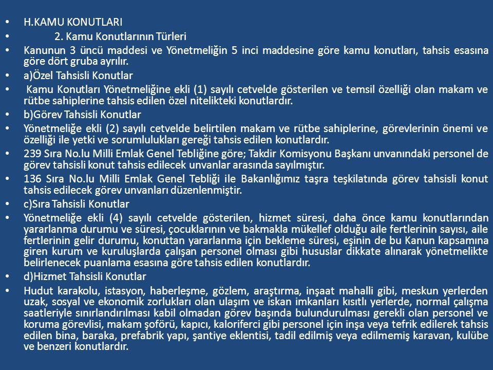 H.KAMU KONUTLARI 2. Kamu Konutlarının Türleri