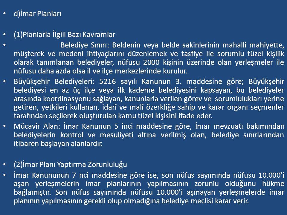 d)İmar Planları (1)Planlarla İlgili Bazı Kavramlar.
