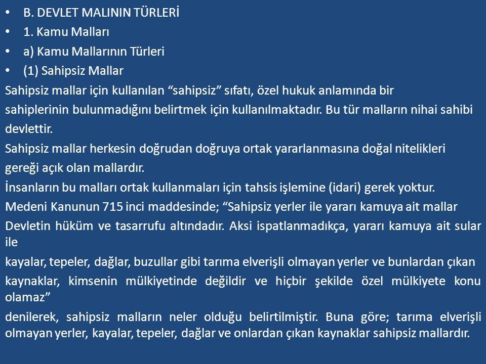 B. DEVLET MALININ TÜRLERİ