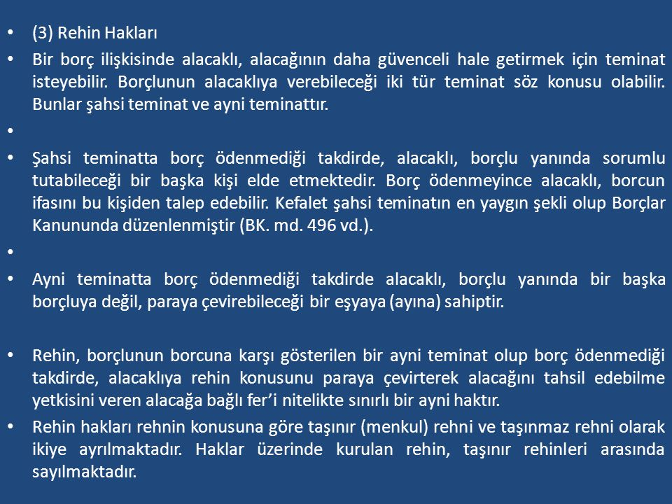 (3) Rehin Hakları